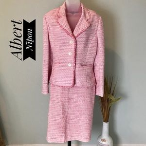 Albert Nipon Pink Skirt Suit